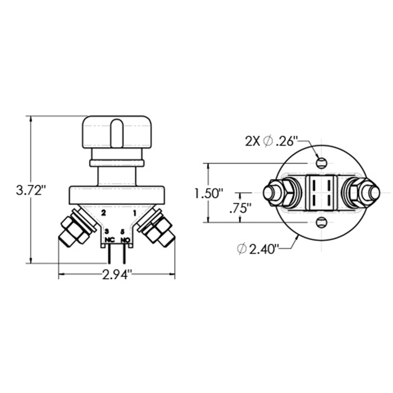 combination battery and alternator kill switch combination